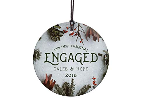 Suncatcher Personalized - Trend Setters First Christmas Engaged Ornament – Cranberries and Evergreen Personalized – Suncatcher Hanging Glass Collectible