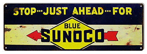 Oil Reproduction Motor - Reproduction Stop Just Ahead Sunoco Motor Oil Sign 6X18