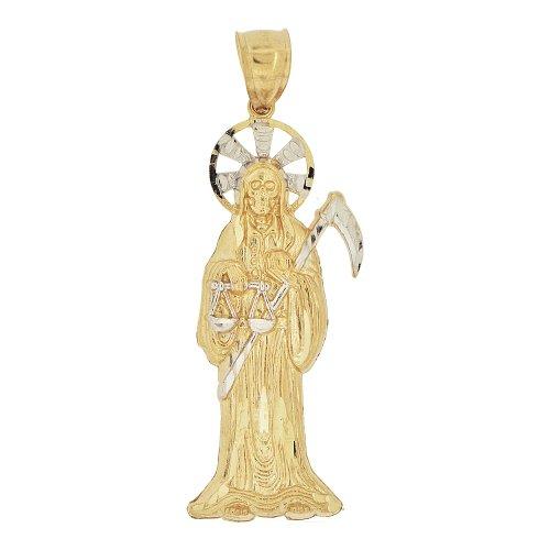 14k Yellow Gold White Rhodium, Death Grim Reaper Santa Muerte Pendant Charm 62mm Tall
