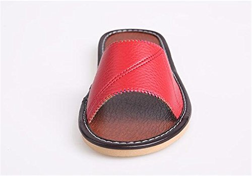 Summer Vert Autumn Wooden W Mute Spring Women PU TELLW and Slippers Floor Men Leather for HqnSdwx