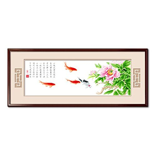 Domei Stamped Cross Stitch Kit, Chinese Poem Five Koi Carp Fish and Peony, 52.0 X 19.7inches