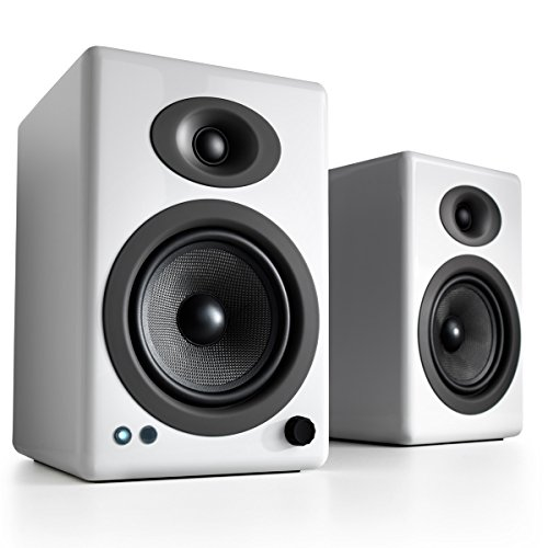Audioengine A5+ Wireless Bookshelf Speakers. Stream Pandora, Spotify, Tidal or your favorite app with aptX HD in High Resolution (Bluetooth-Wireless, White)