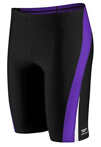Speedo 8051408 Mens Launch Splice Endurance Jammer, Black/Purple, (Speedo Endurance Square Leg)