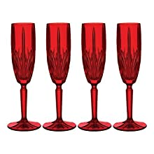 Marquis by Waterford Brookside Champagne Flute, Red, Set of 4