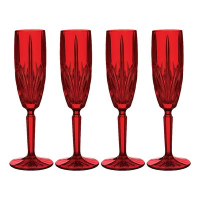 Marquis by Waterford Brookside Champagne Flute, Red, Set of 4 by Marquis By Waterford