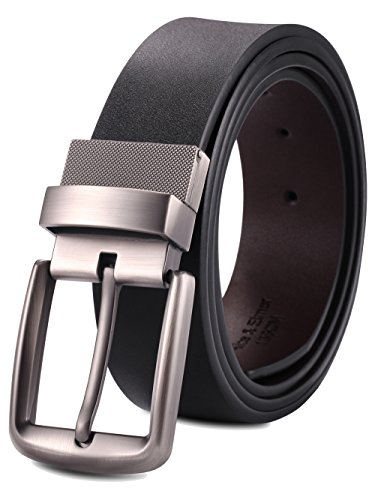 Alice & Elmer Men's Dress Belt Leather Twist Reversible 1 1/2'' Wide With Removable Rotated Buckle Belts Black & Brown Mens Leather Buckle Dress Belt
