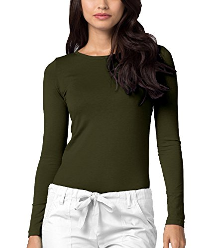 Adar Womens Comfort Long Sleeve T-Shirt Underscrub Tee - 2900 - Olive - 2X - Novelty Knit Jacket