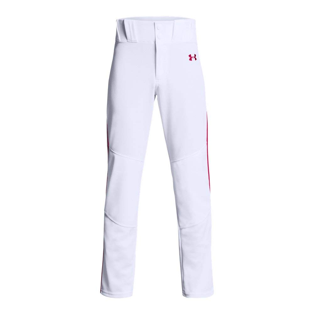 Under Armour Boys' Utility Relaxed Piped Baseball Pant, White (103)/Red, Youth Small by Under Armour