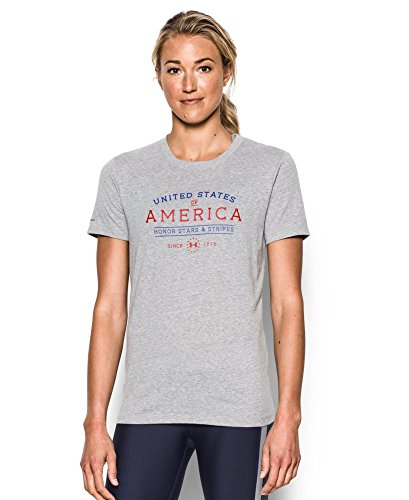 Under Armour Women's Freedom Honor Starts & Stripes Short Sleeve T-Shirt, True Gray Heather/Red, (Honor Short Sleeve Tee)