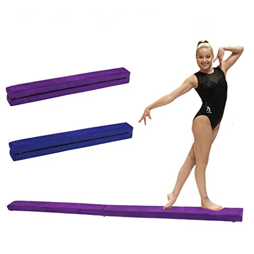 Portable Folding Gymnastics Balance Beam, Durable Horizontal Bar Home Gym Training Balance Beam. (purple, 2.4M) (Bar Horizontal Screen)