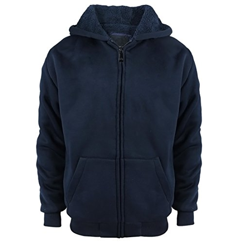 (Sherpa Lined Boys Hoodie Full Zip Fleece Warm Youth Big Long Sleeve Child Sweatshirts Navy)