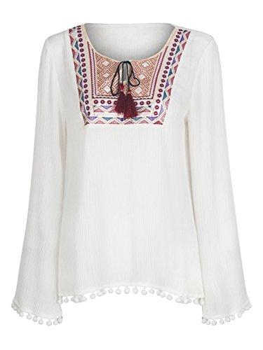 Clothink Sleeve Embroidery PomPom Blouse product image