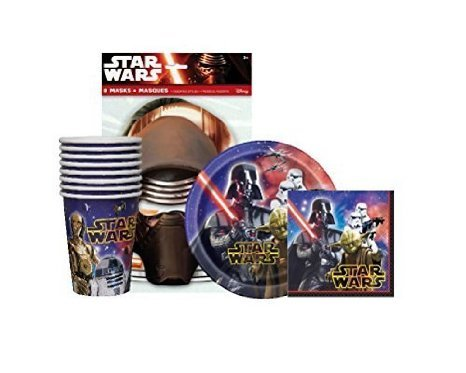 [Star Wars Birthday Party Supplies Pack For 8 guests - 8 Star Wars Party Masks, 8 Dessert Plates,16 Napkins and 8] (C3po Mask)
