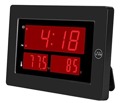 Kwanwa Digital Clock with Indoor Hygrometer Thermometer display Temperature and Humidity High Accuracy C/F switch LED Large Display,Battery Powered