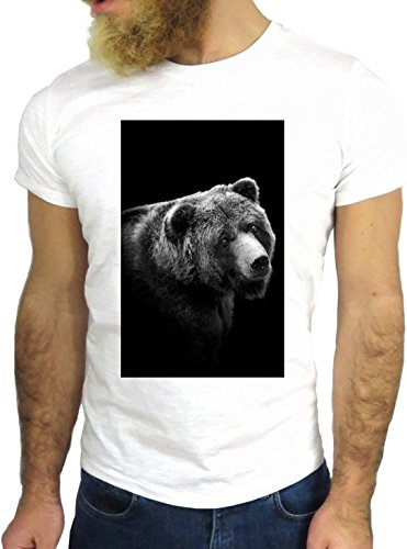 T SHIRT JODE Z1570 BEAR GRIZZLY FOREST WILD ANIMAL BLACK FUN COOL FASHION NICE GGG24 BIANCA - WHITE XL