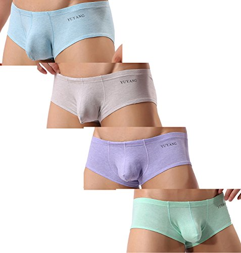 Colored Thermal Underwear - - Yu 8028 Men's Colored Cotton Briefs Shorts Boxer Briefs Underwear (M/28, 4 Colors)