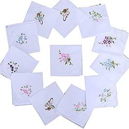 5Pcs Womens Cotton Handkerchiefs Floral Embroidered Lace Pocket Hanky