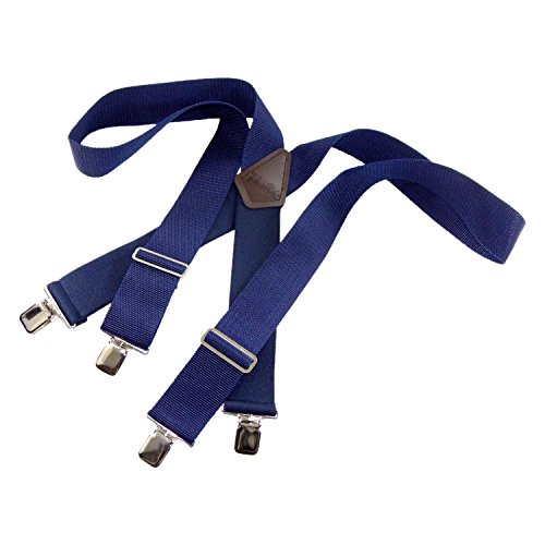 Holdup Brand Navy Blue Industrial 2'' Wide Heavy Duty Suspenders with Non-elastic front straps and No-slip Jumbo Silver Clips by Hold-Up Suspender Co.