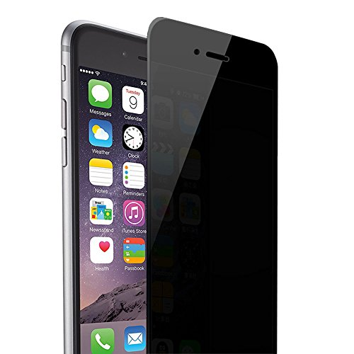 Skylarking iPhone 6 6S Privacy Anti-Spy Tempered Glass Full Screen Protector Ballistics 0.3mm 9H Hardness Anti Shatter Anti Scratch Fingerprint, Bubble Free Black as Mirror (iPhone 6 6s)