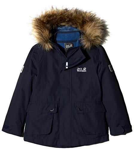 Jack Wolfskin Girl's G Elk Island 3-in-1 Parka Waterproof Insulated System-Zip Jacket, Midnight Blue, - Jacket Taffeta Midnight