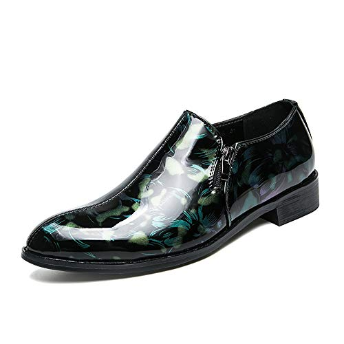 Mxl Cuero Impreso Semi De En Formales Los Zapatos Azul Patente Formal Deslizamiento Negocios Punta Casual Redonda Moda Oxford Hombres rA1P0qarn