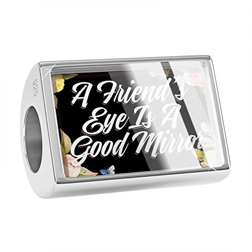 NEONBLOND Charm Floral Border A Friend's Eye is A Good Mirror 925 Sterling Silver Bead