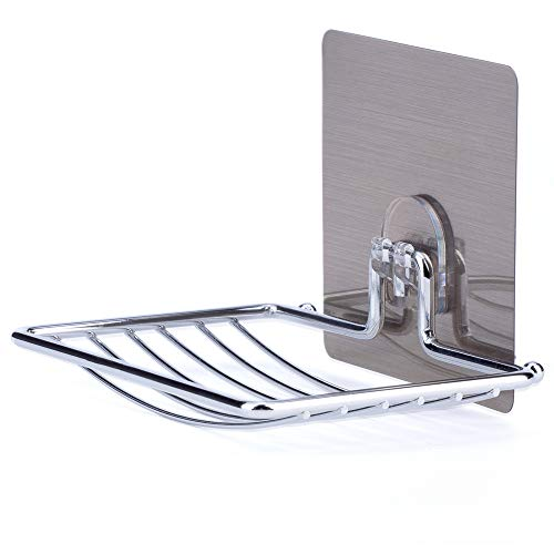 LAUNGDA Soap Dish Adhesive Soap Holder Wall Mounted Chrome Soap Dish Holder for Shower/Bathroom/Kitchen/Tile
