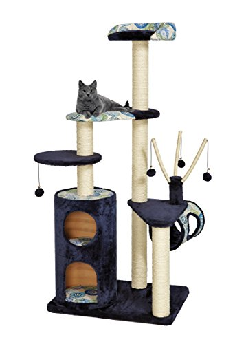 MidWest Homes for Pets Cat Tree | Playhouse Cat Furniture, 5-Tier Cat Tree w/Sisal Wrapped Cat Scratching Posts & Multiple Cat Hide-Outs, Blue/White Pattern, X-Large Cat Tree (Make A Cat Tree Out Of Cardboard Boxes)