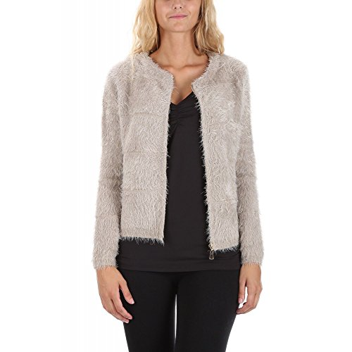 Ideal Shoes Swan - Gilet Court Pelucheux Frome TaupeTU Taupe Tu