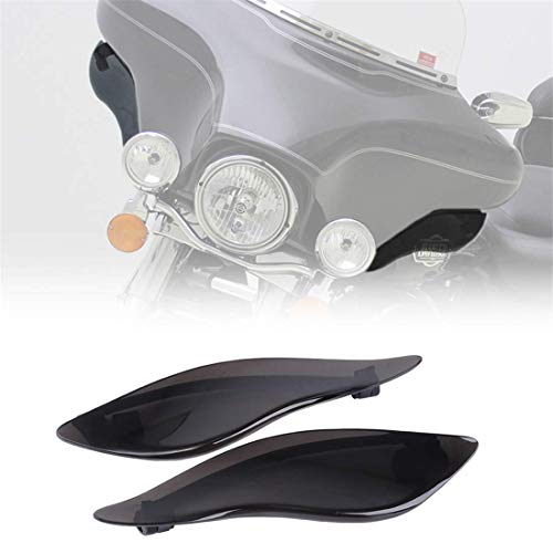 1 Pair Adjustable Wind deflectors Side Wings Windshield Fairing Side Cover Shield Compatible for 2014-2019 Harley Davidson Touring Electra/Street/Tri Glide CVO,Smoke Finish--HAKA TOUGH
