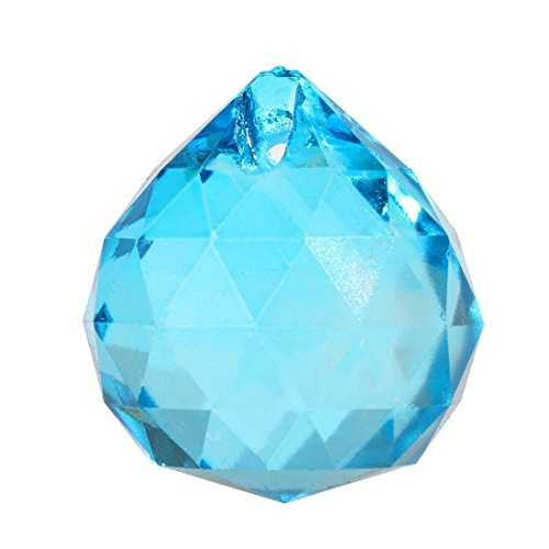 Sea Blue Crystal Ball Prism Pendant Suncatcher, 40mm