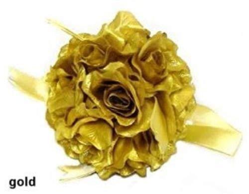 6 Gold Rose Balls Pew Bow Wedding Silk Flower Girl Kissing Ball 50th Anniverary -