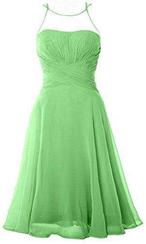 MACloth Elegant Illusion Short Cocktail Dress Chiffon Wedding Party Formal Gown Menta