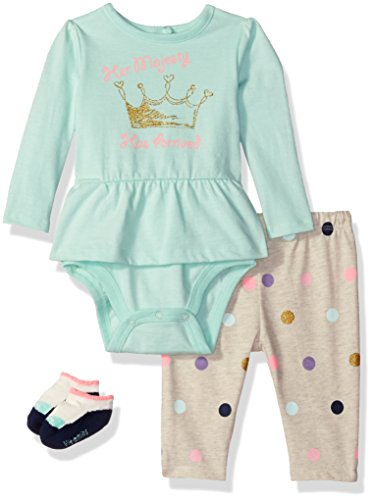 Vitamins Baby Baby Girls' Peplum Screen Print 3 Piece Creeper Pant Set, Her Her Majesty, 3 Months