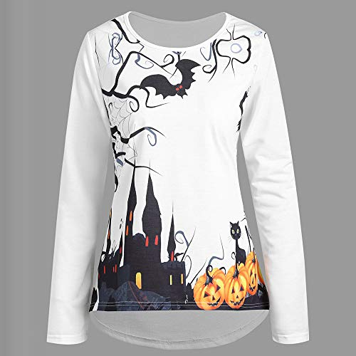 Jewelry Discounts Net - Big Promotion! Toimoth Women Halloween Printed Pumpkin Round Neck Shirt Blouse(White,XL)