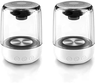 2pcs Small Moveable Bluetooth Speaker -360 Encompass Sound and Wealthy Stereo Bass, Constructed-in Microphone, Dancing LED Lights, 12 Hours Playback Time, Appropriate for Journey, Out of doors, Residence…