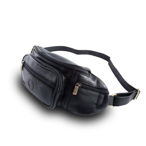 Herrengürteltasche aus weichem Leder mit Bauchgurt der Marke Nuvola Pelle Schwarz