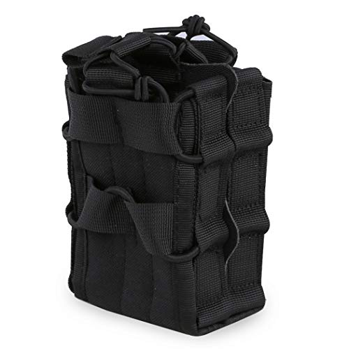 Aoutacc Tactical Mag Pouch, Double Stacking Kangaroo Rifle Magazines Pouch for M4 M14 M16 Magazines (Black)