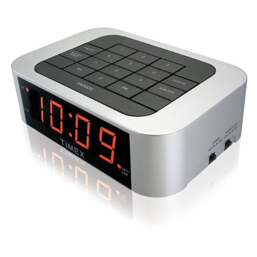 Timex T123SC3 Simple Set Alarm Clock with LED Display (Silver) (I Time Travel Sound Alarm Clock)