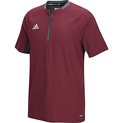 1327babbd0df adidas Mens Climalite Fielders Choice Short Sleeve 1 4-Zip Batting Jacket.