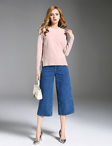 Pullover Neck Rayon Xuanku Regular Simple Going Round Nylon ALLA out Blushing Fall Sleeves Winter Medium Daily Solid ONER Casual Long Pink Women's Polyester 7wz7SZ