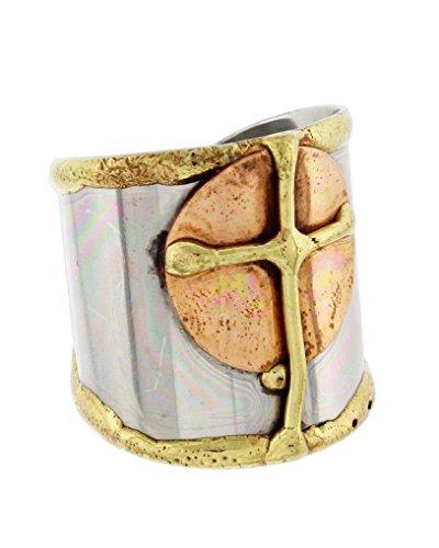 Copper Cuff Design - Anju Cuff Ring Welded Mixed Metal Design - Copper, Stainless Steel, Brass (Cross)