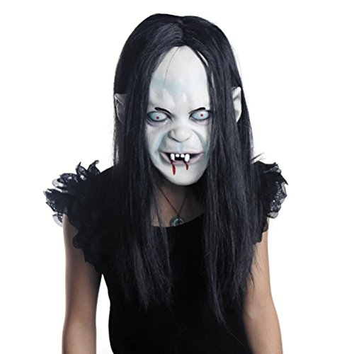 LUOEM Halloween Horror Grimace Ghost Mask Long Wig Hair Grudge Sadako Ghost Wig Creepy Scary Costume Mask for Halloween Party Supply ()