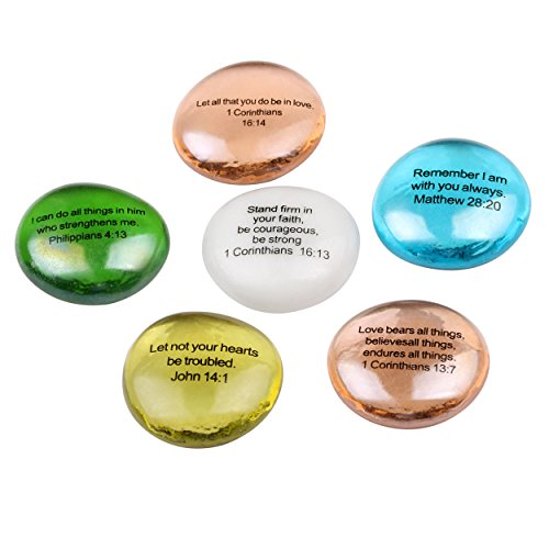 Stone Scripture (Holy Land Market Biblical Scripture Glass Stones Set - Model III - Inspirational Words from The Bible)