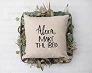 Alexa, Make the Bed Throw Pillow Cover 16 x 16, Hidden Zipper Linen Decorative Pillow Cushion Case for Bed Liv