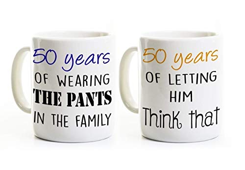 Funny 50th Anniversary Coffee Mug Set (Two Mugs) - Wearing the Pants