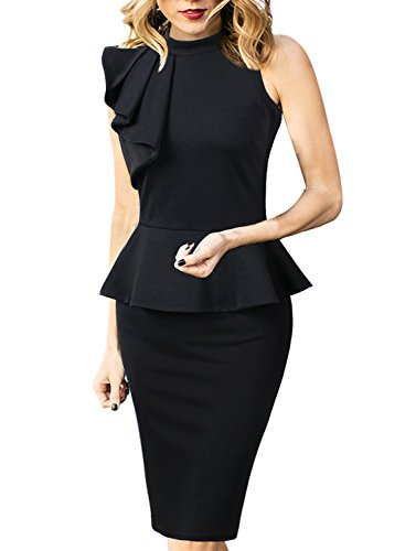 (VFSHOW Womens Black Mock Neck Ruffle Peplum Business Cocktail Party Sheath Dress 2666 BLK 3XL)