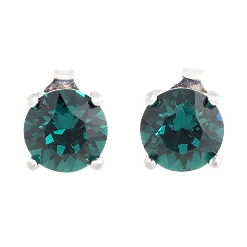 - Pop Fashion 18k White Gold Swarovski Crystal Earrings, Green Emerald Birthstone Stud Earring Set, Round Cut Emerald Solitaire Earrings for Women, Ladies - MSRP $128