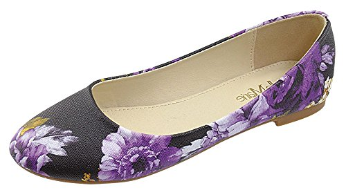 Comfortable Slip Floral Women's Shoes Bella Round Ballerina Marie Toe Classical On Flats UEZ8fqZ
