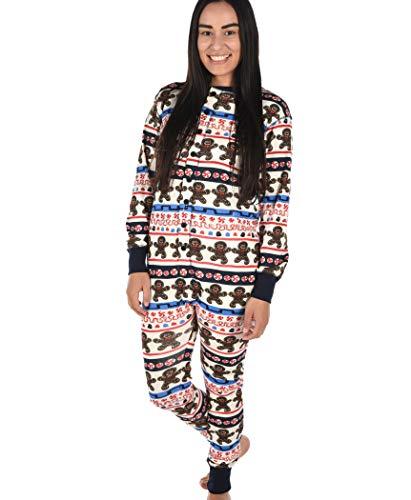 Sweet Cheeks Gingerbread Adult Flapjack Onsie Pajamas by LazyOne | Adult Kid Infant Dog Family Matching Pajamas (Large)